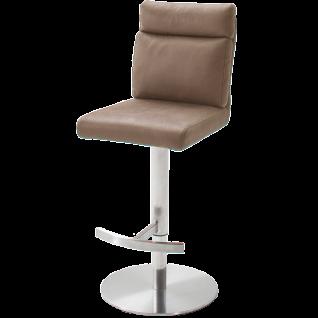 MCA furniture Barhocker Rabea Art.Nr. REBR16SA mit Höhenverstellung Sitz drehbar Bezug Antiklook Sand Gestell Edelstahl gebürstet