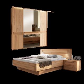 Wöstmann WSM 2300 Schlafzimmer 2-teilig bestehend aus einer Bettanlage Liegefläche wählbar und 4-türigem Drehtürenschrank optional mit Passepartout Nachtkonsolen und Bettschubkasten