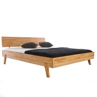 Woodlive Bett Livia in Kernbuche Massivholz natur geölt Nachttisch optional wählbar Liegefläche wählbar für Ihr Schlafzimmer oder Gästezimmer