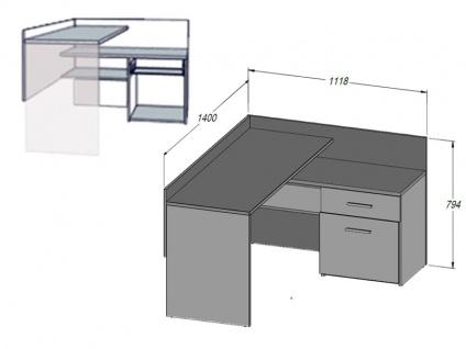 FORTE Net106 Eckschreibtisch MT939 Schreibtisch für Ihr Arbeitsszimmer oder Büro mit Tür und Schublade Korpus Betonoptik Lichtgrau Front Weiß - Vorschau 2