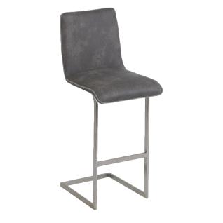 MWA Aktuell Barhocker Milano Sitzschale P mit Keder in Stoff hellgrau und Steppung an der Rückenseite Gestell und Bezug wählbar