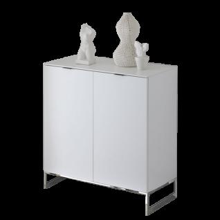 Staud Möbel Sonate Türenkommode mit 2 Türen mit Griffen und Metallgestell chromfarbig Korpus und Front in Dekor Farbe wählbar optional mit Glasplatte