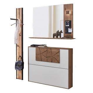 Hartmann Caya Garderoben Set bestehend aus Schuhkipper, Spiegel und Wandpaneel Korpus Kerneiche Front Mattglas weiß und Holzapplikation