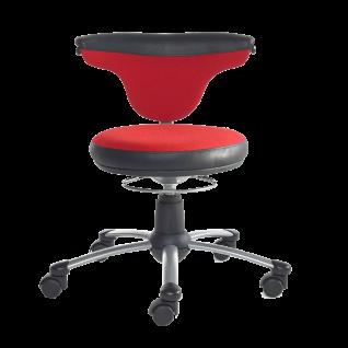 Mayer Sitzmöbel Funktionsdrehstuhl myTorro 1251-331 Bezug zweifarbig rot/ schwarz 360 Grad drehbar Gestell perlsilber