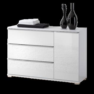 Staud Möbel Rubin Kombikommode mit 3 Schubkästen links und 1 Tür rechts Korpus in Dekor Front verglast Farbe wählbar Griffleisten und Füße chromfarbig - Vorschau 2