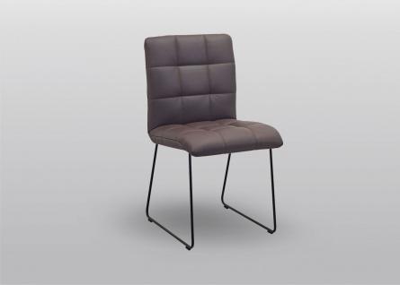 K+W silaxx 6152 Stuhl mit Kufen 1A Rücken mit Kassettensteppung Bezug Stoff oder Leder Ausführung wählbar