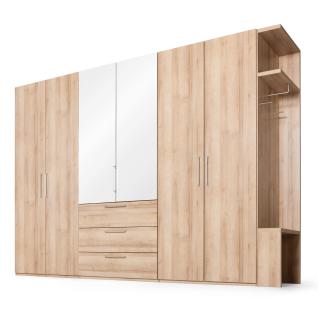 Nolte concept me 100 Kleiderschrank 6-türig mit 3 Schubkästen und Anbau-Garderobe - Türen über den Schubkästen mit Kristallspiegelauflage