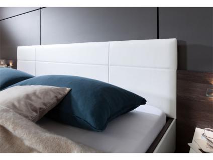 Nolte Möbel Novara Schlafzimmer 4-teilig bestehend aus Schwebetürenschrank 2-türig, Doppelbett Liegefläche wählbar inklusive 2 Nachtschränken in Eiche-Nachbildung dark chocolate mit Absetzung Polarweiß - Vorschau 5