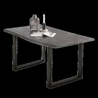 Sit Möbel Esstisch ca. 140 x 80 cm Tischplatte aus Massivholz antikgrau Baumkante Gestell schwarz
