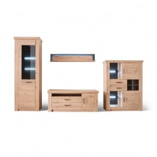 MCA furniture Wohnwand 1 Meran Art.Nr. MER1QW01 Front Balkeneiche tiefzieh Korpus Balkeneiche Melamin Absetzung anthrazit Beleuchtung optional