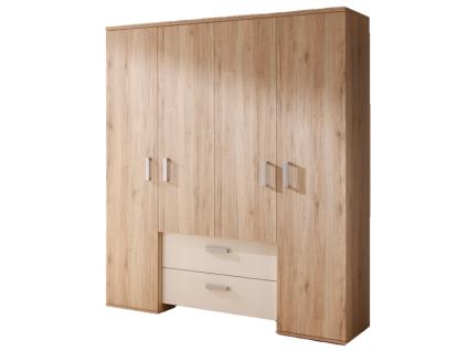 Mäusbacher Twin Kleiderschrank 0417_42 mit 4 Türen und 2 Schubkästen für Babyzimmer oder Kinderzimmer Schrank im Dekor Sanremo hell mit Absetzung in weiß matt Dekor