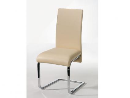 Schösswender Kreta Stuhl Modell Paula Freischwinger mit Polsterlehne und Gestell Chrom glänzend für Ihr Esszimmer Polsterstuhl ohne Armlehne mit wählbarem Bezug