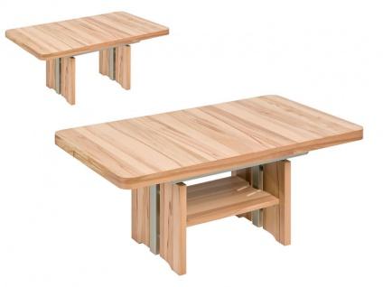 Vierhaus Couchtisch IL-Kombi-Quer-KQ 2307 Tischplatte ca.120 x 75 cm Ecken abgerundet, ausziehbar und mit Ilse-Lift höhenverstellbar, Farbausführung, Ablageboden und Rollensatz wählbar