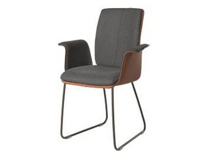Bert Plantagie Stuhl Tara Schlitten Komfort 831C mit Bi-Color-Mattenpolsterung Polsterstuhl für Esszimmer Esszimmerstuhl mit Schlittengestell Gestellausführung und Bezug in Leder oder Stoff wählbar