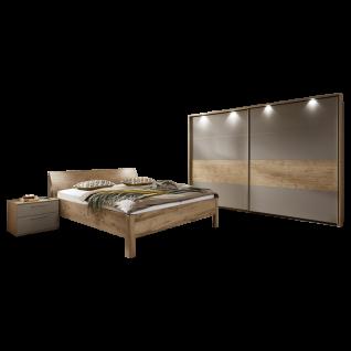 Disselkamp CD Studioline Schlafzimmer Doppelbett Kopfteil Bogen Holz Nachtkonsolen wählbares Paneel und LED Beleuchtung Schwebetürenkleiderschrank mit Passepartout und LED Beleuchtung