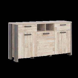 Forte Clif Sideboard CLFK231 mit drei Türen und zwei Schubkästen zwei offene Fächer in wählbarer Ausführung für Ihr Wohnzimmer