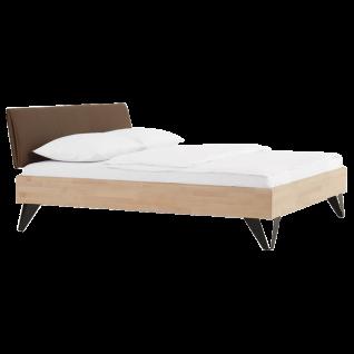 Dico Möbel Massivholzbett Include System mit Kopfteil Bettrahmen in Buche natur geölt Kunstlederkiopfteil in Terrabraun Liegefläche wählbar