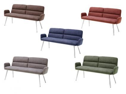 MCA furniture Fida Sitzbank ca. 175 cm breit mit Armlehne Gestell Rundrohr Bezug wählbar für Speisezimmer oder Esszimmer