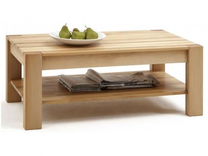 Elfo-Möbel Couchtisch Nena 6672 rechteckig in Kernbuche Massivholz geölt mit durchgehenden Lamellen Beistelltisch mit Ablage für Wohnzimmer