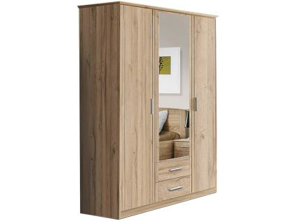 FORTE Gloria Kleiderschrank in Bianco Eiche Nachbildung Art.Nr. GLRS83S_D63 mit 2 Türen und 1 Spiegeltür sowie 2 Schubkästen Schrank für Ihr Schlafzimmer