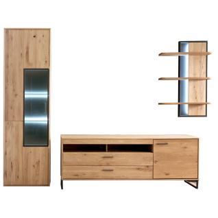 MCA Furniture Portland Wohnkombination 1 für Ihr Wohnzimmer 3-teilige Wohnwand im industrial Look mit Vitrine Lowboard und Wandregal Kombination in Asteiche bianco teilmassiv mit Fronten aus Massivholz und mit Absetzungen in Anthrazit lackiert