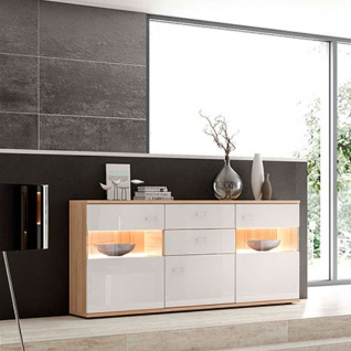 Stralsunder Largo Sideboard C18064 mit Glasausschnitten in der linken und rechten Tür Kommode für Wohnzimmer und Esszimmer Beleuchtung und Dekor wählbar - Vorschau 2