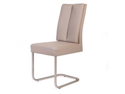 Standard Furniture Schwingstuhl Timmy 2 mit Komfortsitz und Edelstahl-Rundrohr-Gestell Polsterstuhl für Wohnzimmer oder Esszimmer Bezug wählbar