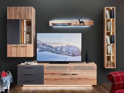 Schröder Kitzalm-Montana Kombination K004 furnierte Wohnkombination Wohnwand mit Glas-Akzent für Wohnzimmer mit TV-Unterteil Hängeschrank Hängeregal und Wandbord Holzausführung und Beleuchtung wählbar