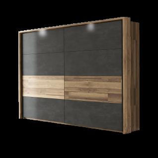 Forte Ricciano Schwebetürenschrank RCQS12411 mit zwei Türen Kleiderschrank ca. 270 cm breit für Ihr Schlafzimmer Ausführung Stabeiche Nachbildung kombiniert mit Betonoptik dunkelgrau