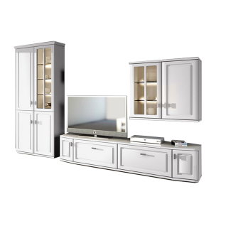 Stralsunder Scala Wohnkombination EB31505 - 5-teilige Wohnwand bestehend aus 1 Säulenkombination 4-türig links einem Lowboard rechts und Hängeschrankkombiantion 2-türig - Ausführung wählbar