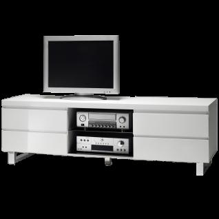 MCA furniture Lowboard Sydney Art.Nr. 48901W1 Front und Korpus Weiß MDF Hochglanz lackiert Füße Metall verchromt 4 Schubkästen und 2 Fächer