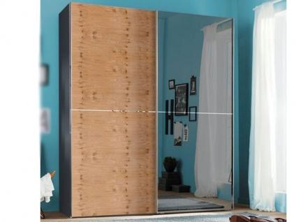 Nolte Express Möbel One 310 Schwebetürenschrank 2-türig Teilfront mit Spiegelauflage rechts und Wildeiche Furnier links und mittiger Zierleiste , Schrankbreite und -höhe wählbar