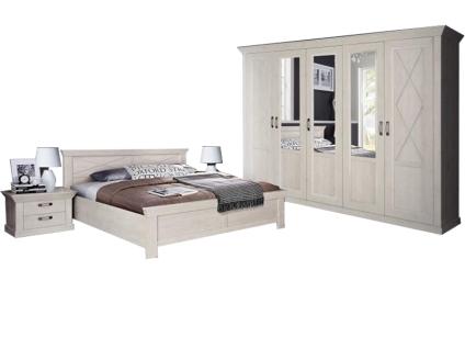 FORTE Kashmir Schlafzimmer 4-teiliges Set mit Bett ca. 180x200cm Kleiderschrank und zwei Nachttischen im Dekor Pinia Weiss
