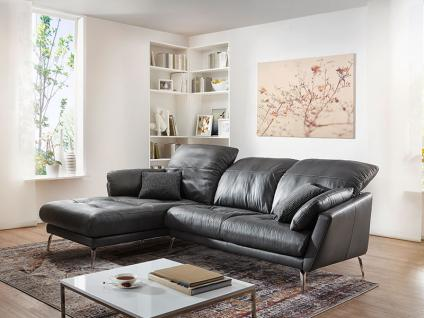 Willi Schillig Softy Plus 12311 Solano Eckcouch mit Longchair links und 2 Sitzer Sofa groß mit Kopfstützensverstellung Seitenteilkissen und chromglänzenden Metallfüßen Bezug wählbar - Vorschau 2