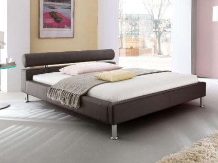 Meise Möbel ANELLO Polsterbett mit Kunstlederbezug in weiß schwarz oder braun Kopfteil mit Kopfteilrolle Metallfüße in Chromoptik Liegefläche wählbar - Vorschau 4