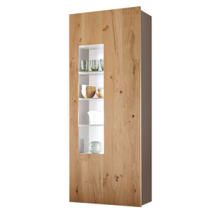 Loddenkemper Media 3000 Vitrine 7189 mit einer Tür mit Ausschnitt Standvitrine mit Korpus in Lack Cubanit Grau matt und Front in Balkeneiche Furnier für Ihr Wohnzimmer oder Esszimmer