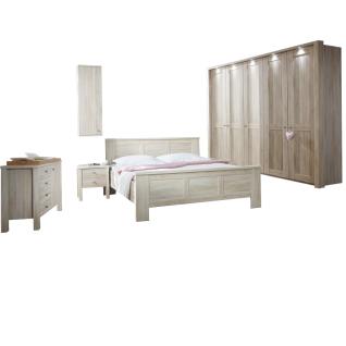 Wiemann Bergamo Schlafzimmer-Kombination 6-teilig bestehend aus Kleriderschrank 5-türig sowie Bett mit Liegeflächen von ca. 180 x 200 cm inklusive 2 Nachtschränken - Kombikommode und Hängeschrank Ausführung wählbar