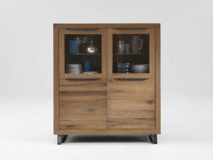 Bodahl Manhattan Vitrine 10253 rustic oak Massivholz Schrank mit Glastür und zwei Schubkästen für Wohnzimmer und Esszimmer Beleuchtung und in sieben Ausführungen wählbar