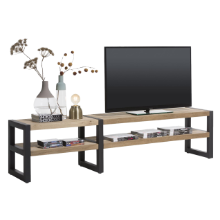 Habufa Brooklyn TV-Board ca. 210 cm breit Eiche furniert Metallgestell schwarz Lowboard im Industrie Stil