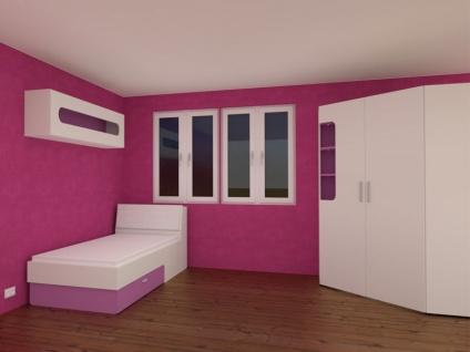 Rudolf Möbel Max-i Jugendzimmer Maxi 4-teilig mit Bett und Bettkasten Eckkleiderschrank mit Beleuchtung Hängeregal mit Absetzungen in Lack Purpur