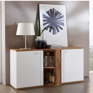 Ideal-Möbel Magic Sideboard 51 mit Drehkarussel und zwei Türen Korpus Weiß Front Weiß Hochglanz Absetzung Wotan Eiche Nachbildung - Vorschau 2