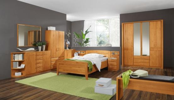 Wiemann Lausanne Schlafzimmer Einzelbett, Drehtürenschrank, 2 Nachtschränke sowie Beistellmöbel in Erle oder Birke teilmassiv wählbar komplettes Schlafzimmer