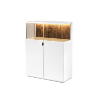 Quadrato Modena Highboard 40114007 in Lack reinweiß mit Altholz-Rückwand und zwei Türen für Ihr Wohnzimmer oder Esszimmer