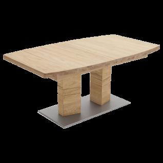 MCA furniture Esstisch Cuneo ausziehbar mit 2 Säulen Tischplatte Bootsform Wildeiche Bodenplatte silberfarbig lackiert