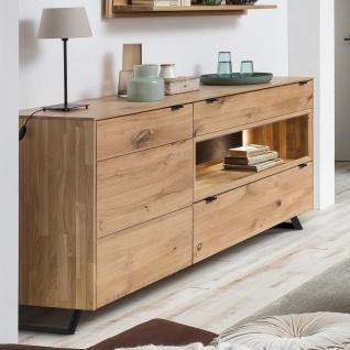 Quadrato Lissabon Sideboard 40523049 in Wildeiche bianco Massivholz mit Metallgestell schwarz mit einer Tür und zwei Schubkästen - Vorschau 2