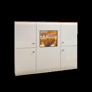 Stralsunder Breege Highboard B15073 mit fünf Türen für Ihr Wohnzimmer oder Esszimmer Dekor Alteiche Nachbildung und Tonweiß