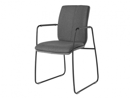 Bert Plantagie Stuhl Tara Komfort 8721C mit Uni-Mattenpolsterung Schlittengestell und offenen Armlehnen Stuhl für Esszimmer Esszimmerstuhl Gestellausführung und Bezug in Leder oder Stoff wählbar