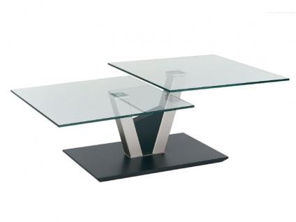 Vierhaus Couchtisch 1019-ATNGR mit zwei drehbaren Glas-Tischplatten, Gestell nickelfarbig lackiert und Bodenplatte in Lack Anthrazit