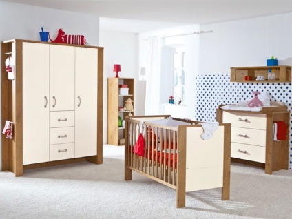 Paidi Henrik Babyzimmer Kleiderschrank Wickelkommode Babybett in Eiche-Antik-Nachbildung und Absetzung beige - Vorschau 2
