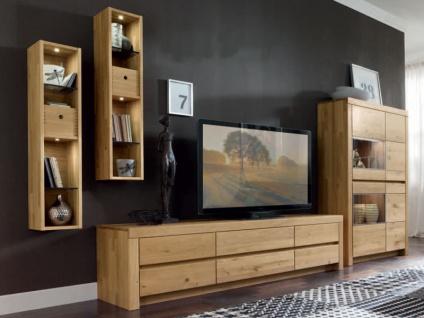 Wöstmann Wohnwand Soleo 3000 Linos inkl. 2 x Dekobox 0920 Massivholz soft gebürstet für Wohnzimmer Kombination 3001 oder spiegelseitig 4-teilig Ausführung und Zubehör wählbar
